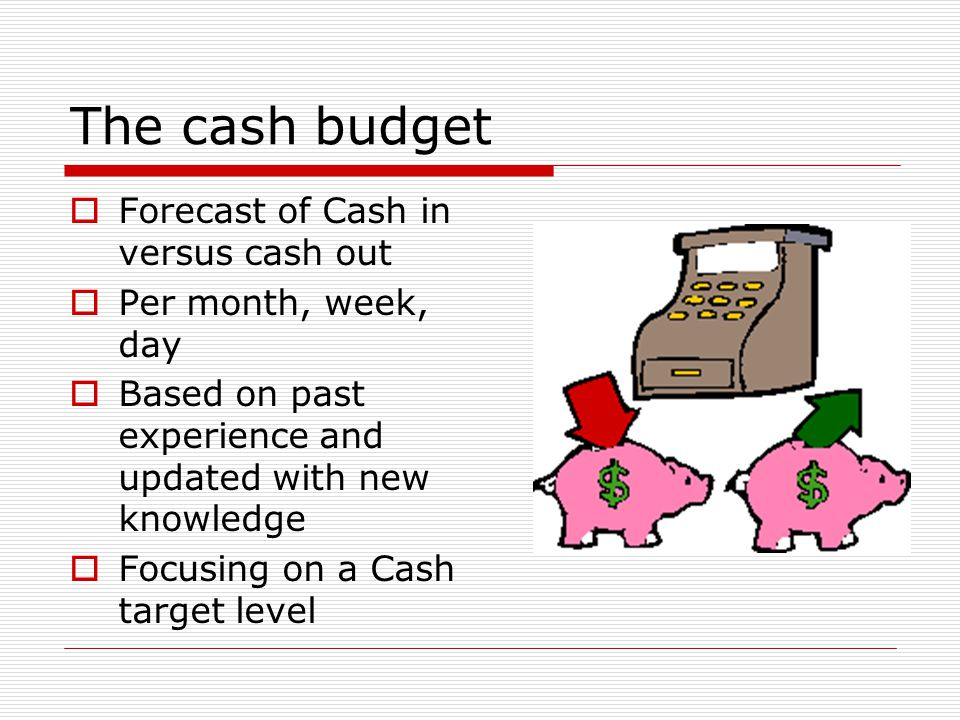 The cash budget  Forecast of Cash in versus cash out  Per month, week, day  Based on past experience and updated with new knowledge  Focusing on a