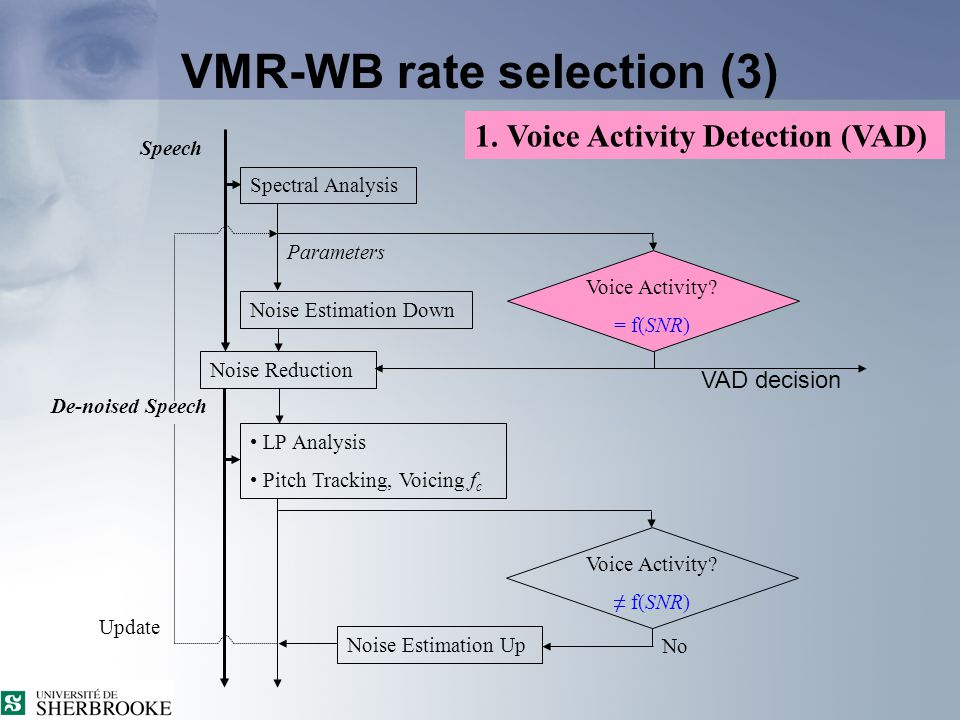 VMR-WB rate selection (2) 1. Voice Activity. 2. Unvoiced Frame.