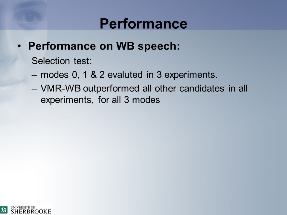 AMR-WB ↔ VMR-WB interoperation (4) Performance of the interoperable links