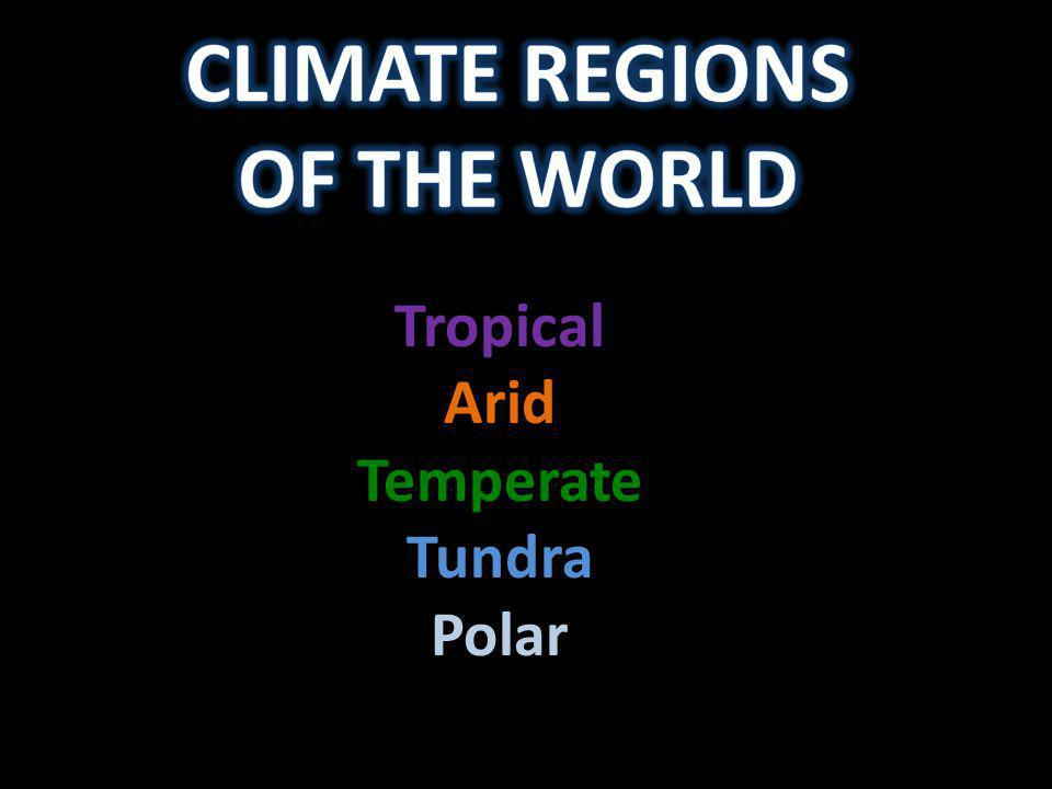 Tropical Arid Temperate Tundra Polar