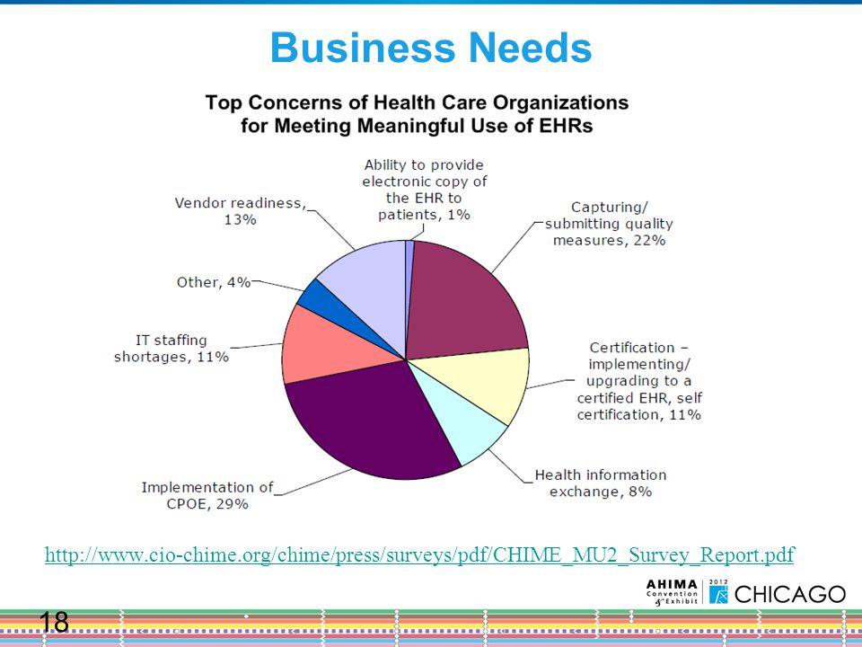 Business Needs http://www.cio-chime.org/chime/press/surveys/pdf/CHIME_MU2_Survey_Report.pdf 18