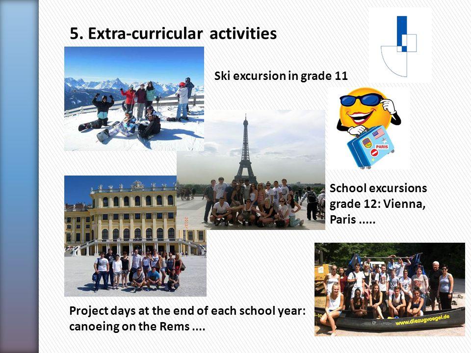 5. Extra-curricular activities School excursions grade 12: Vienna, Paris.....