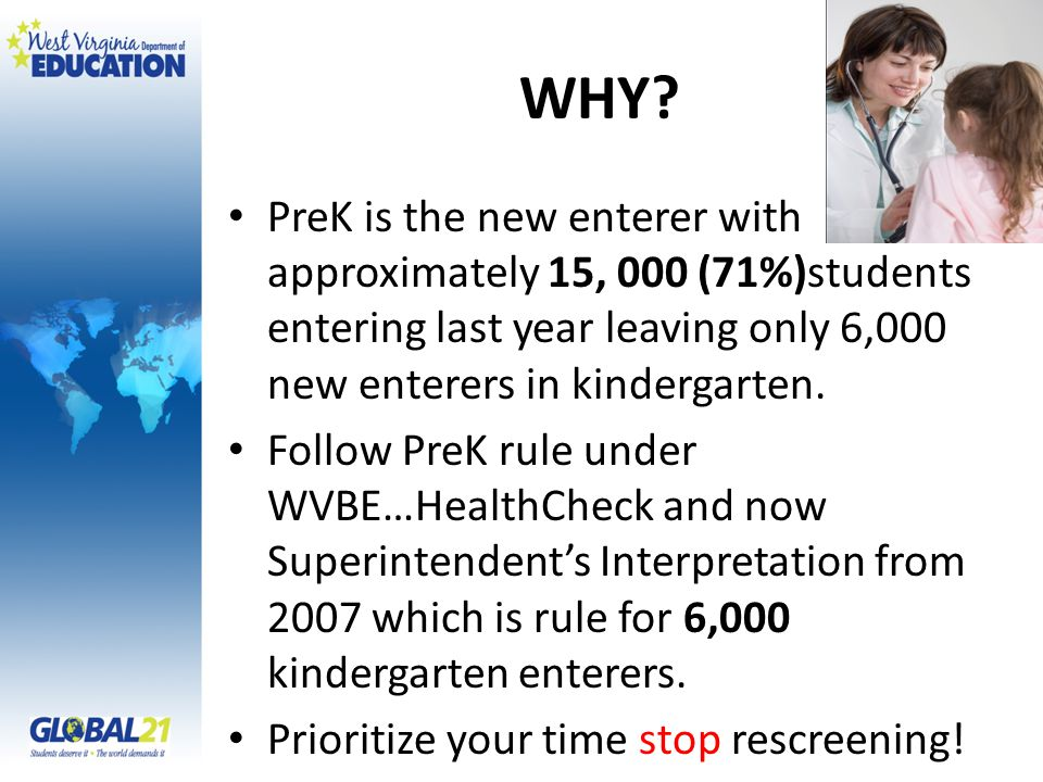 WHY? PreK is the new enterer with approximately 15, 000 (71%)students entering last year leaving only 6,000 new enterers in kindergarten. Follow PreK