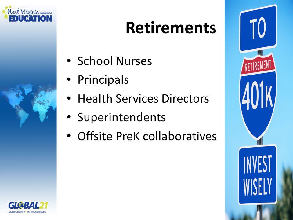 Retirements School Nurses Principals Health Services Directors Superintendents Offsite PreK collaboratives