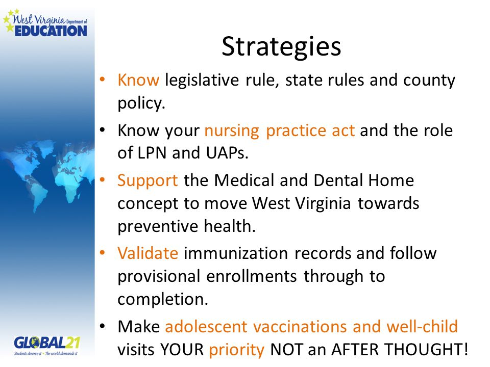 Strategies Know legislative rule, state rules and county policy.