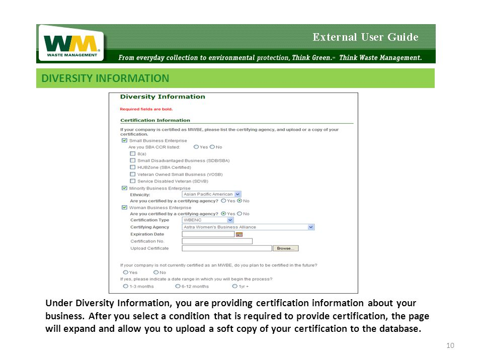 DIVERSITY INFORMATION Under Diversity Information, you are providing certification information about your business.