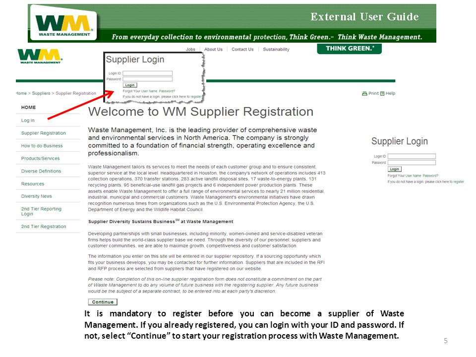 5 It is mandatory to register before you can become a supplier of Waste Management.
