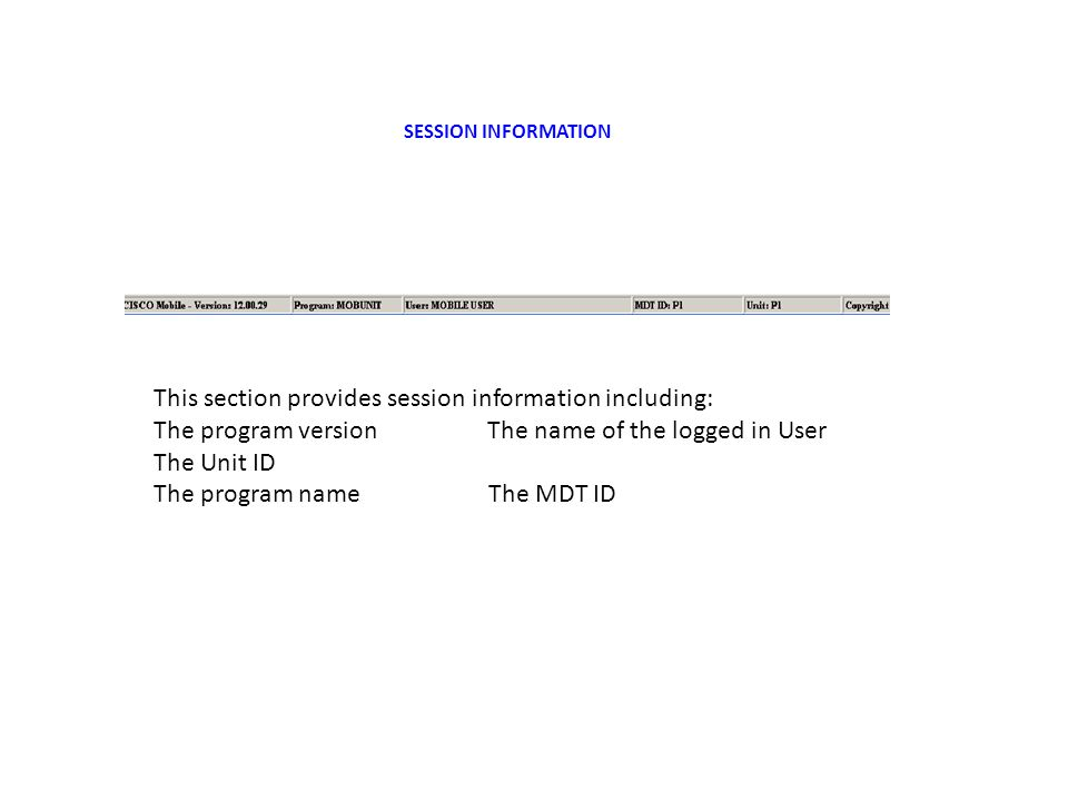 SESSION INFORMATION This section provides session information including: The program version The name of the logged in User The Unit ID The program name The MDT ID