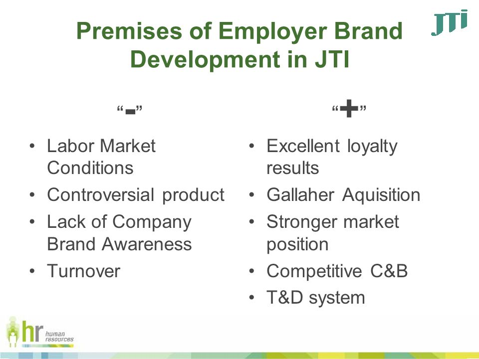 Premises of Employer Brand Development in JTI - Labor Market Conditions Controversial product Lack of Company Brand Awareness Turnover + Excellent loyalty results Gallaher Aquisition Stronger market position Competitive C&B T&D system