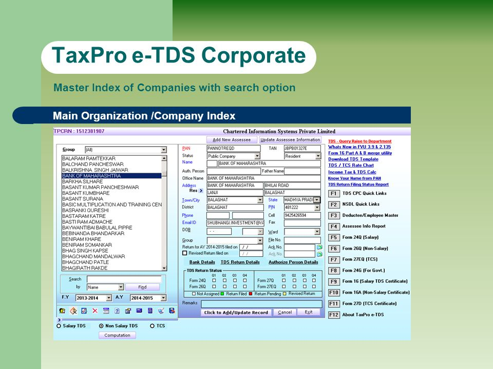 TaxPro e-TDS Corporate Main Organization /Company Index Master Index of Companies with search option