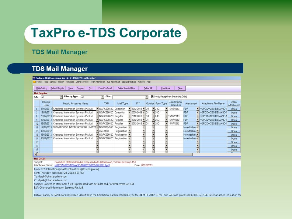 TDS Mail Manager TaxPro e-TDS Corporate TDS Mail Manager