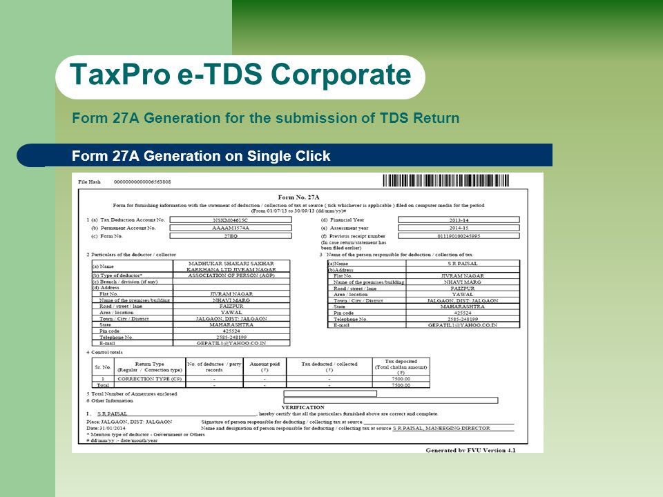 Form 16A (S/w Generated) TaxPro e-TDS Corporate Form 16A generation from TDS Return with Bulk Printing facility