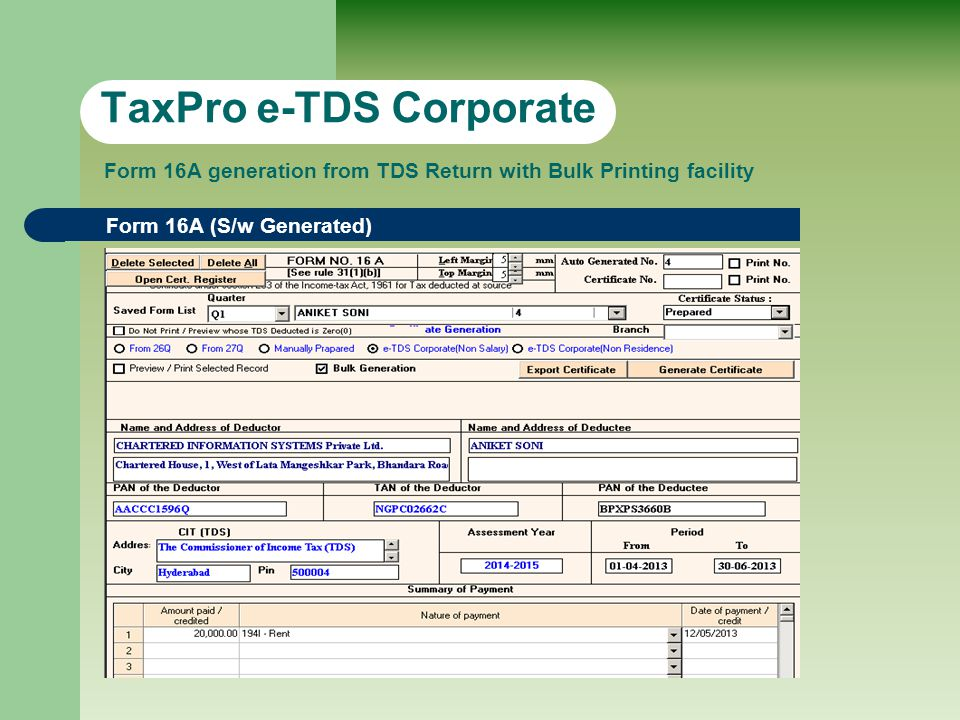 TRACES Quick Links TaxPro e-TDS Corporate TRACES Quick links to Request Form 16A, 16, Consolidate File… etc.
