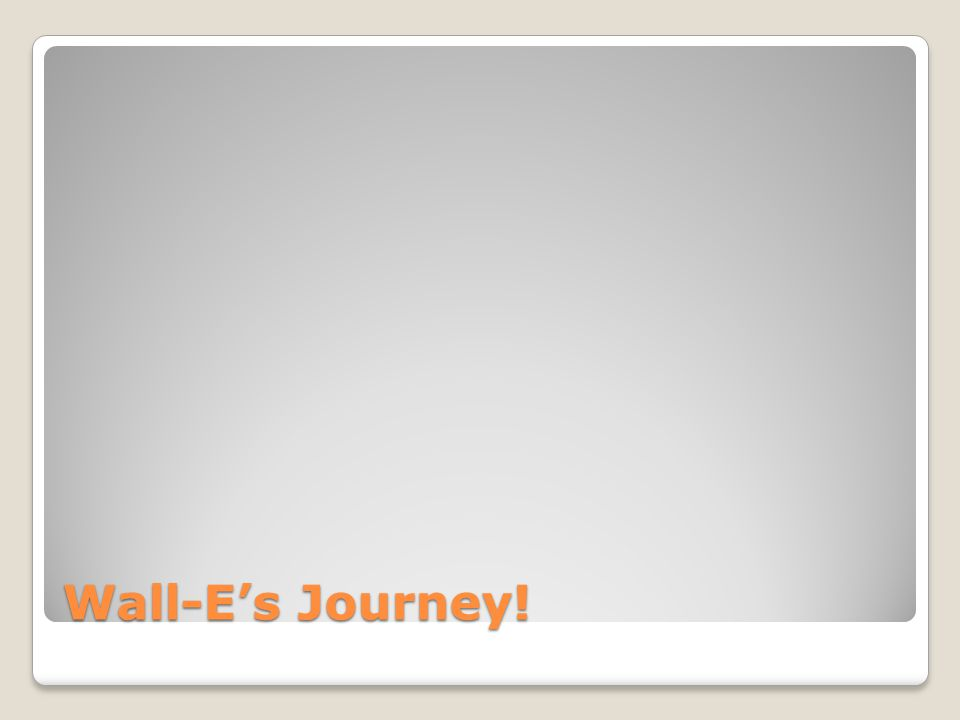 Wall-E's Journey!