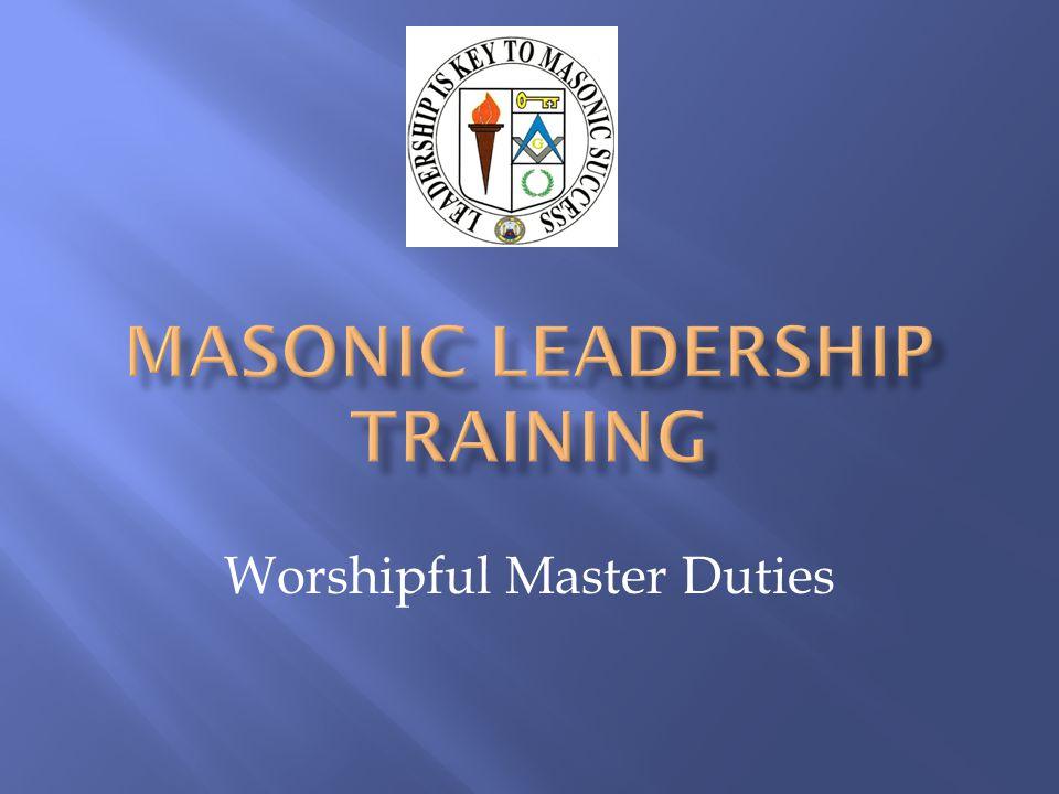 Worshipful Master Duties