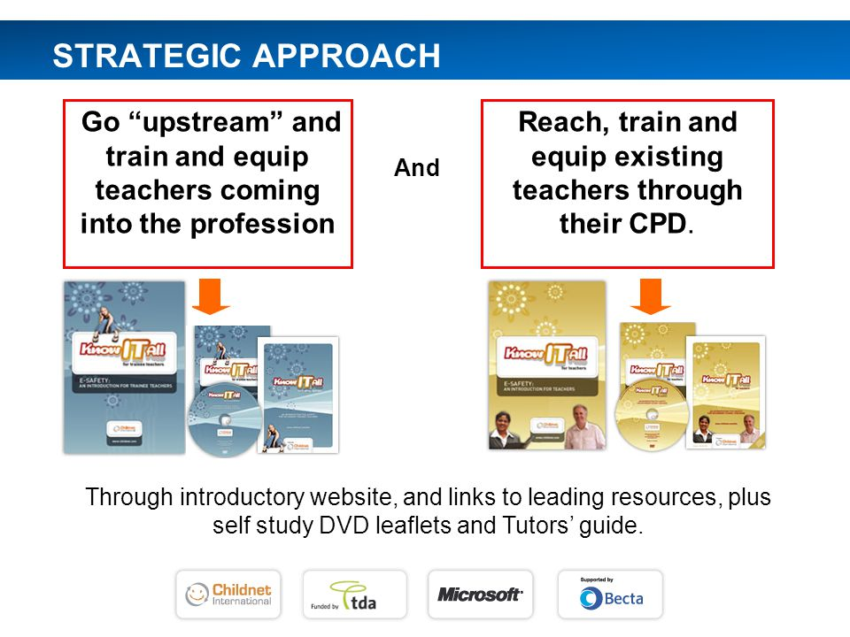 Go upstream and train and equip teachers coming into the profession STRATEGIC APPROACH Reach, train and equip existing teachers through their CPD.