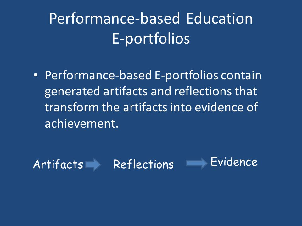 Performance-based Education E-portfolios Performance-based E-portfolios contain generated artifacts and reflections that transform the artifacts into evidence of achievement.