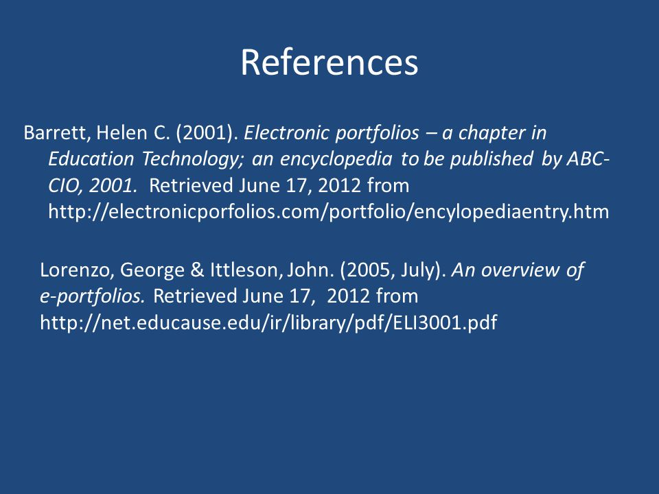 References Barrett, Helen C. (2001).