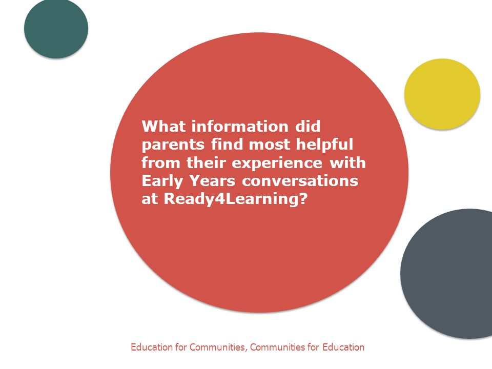 Education for Communities, Communities for Education What information did parents find most helpful from their experience with Early Years conversations at Ready4Learning