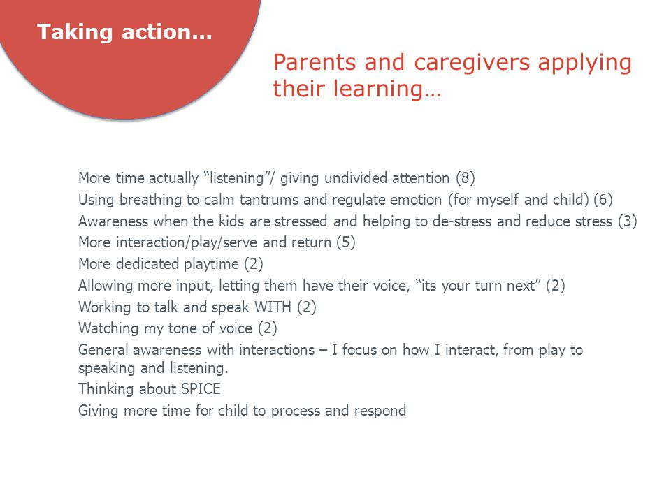 Parents and caregivers applying their learning… Taking action… More time actually listening / giving undivided attention (8) Using breathing to calm tantrums and regulate emotion (for myself and child) (6) Awareness when the kids are stressed and helping to de-stress and reduce stress (3) More interaction/play/serve and return (5) More dedicated playtime (2) Allowing more input, letting them have their voice, its your turn next (2) Working to talk and speak WITH (2) Watching my tone of voice (2) General awareness with interactions – I focus on how I interact, from play to speaking and listening.