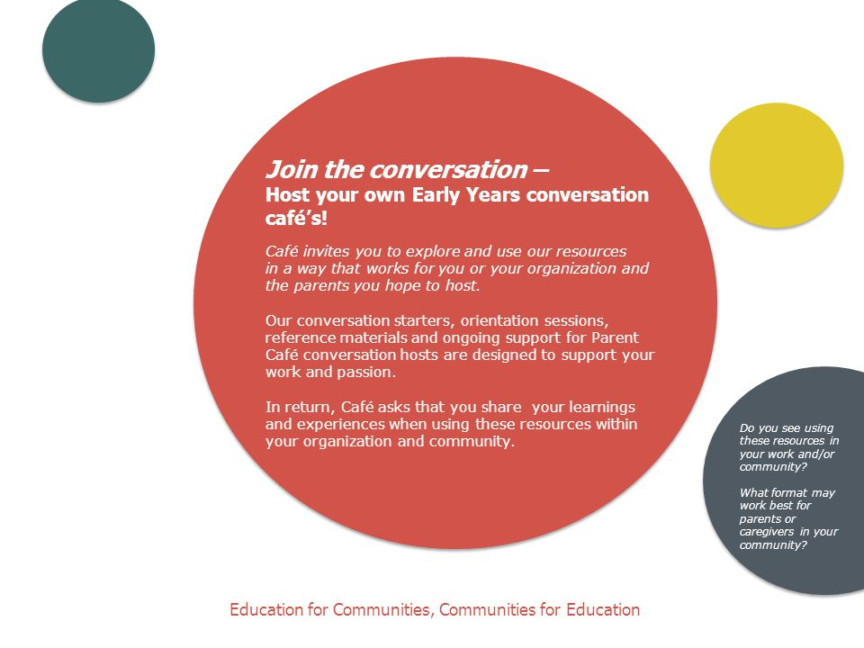 Join the conversation – Host your own Early Years conversation café's.
