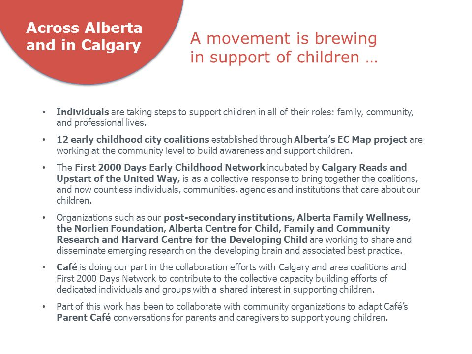 Across Alberta and in Calgary Individuals are taking steps to support children in all of their roles: family, community, and professional lives.
