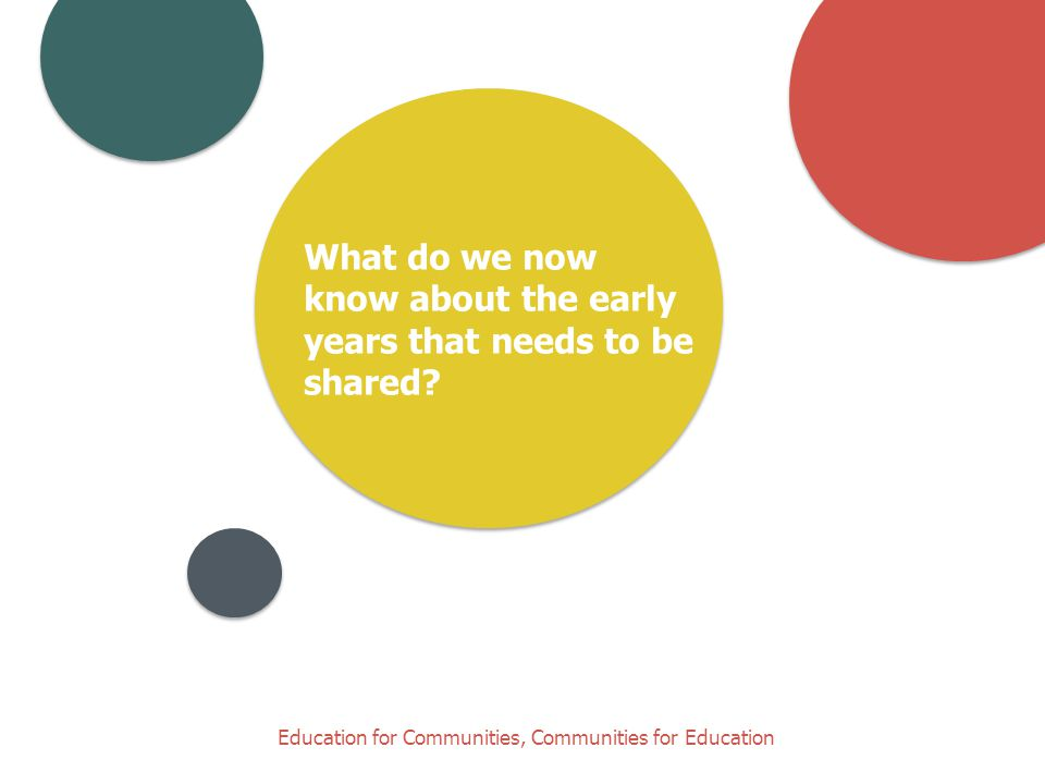 Education for Communities, Communities for Education What do we now know about the early years that needs to be shared