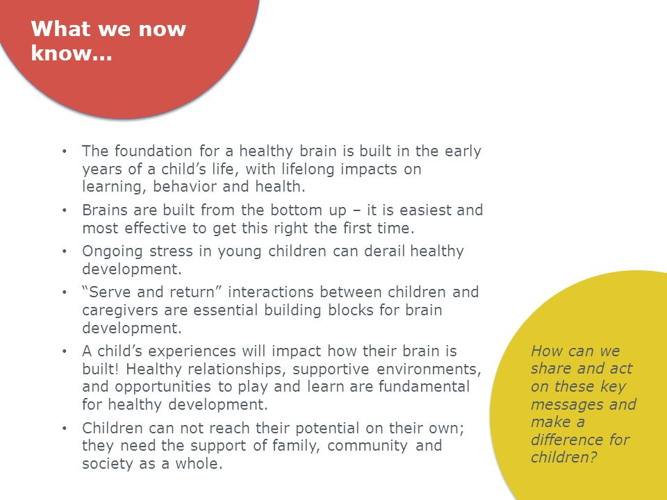 What we now know… The foundation for a healthy brain is built in the early years of a child's life, with lifelong impacts on learning, behavior and health.
