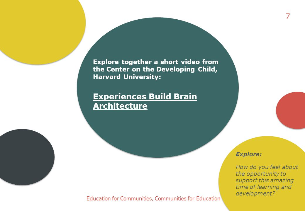 Education for Communities, Communities for Education Explore together a short video from the Center on the Developing Child, Harvard University: Exper