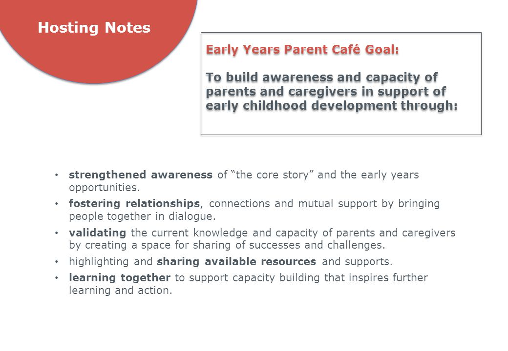 """Hosting Notes strengthened awareness of """"the core story"""" and the early years opportunities. fostering relationships, connections and mutual support by"""