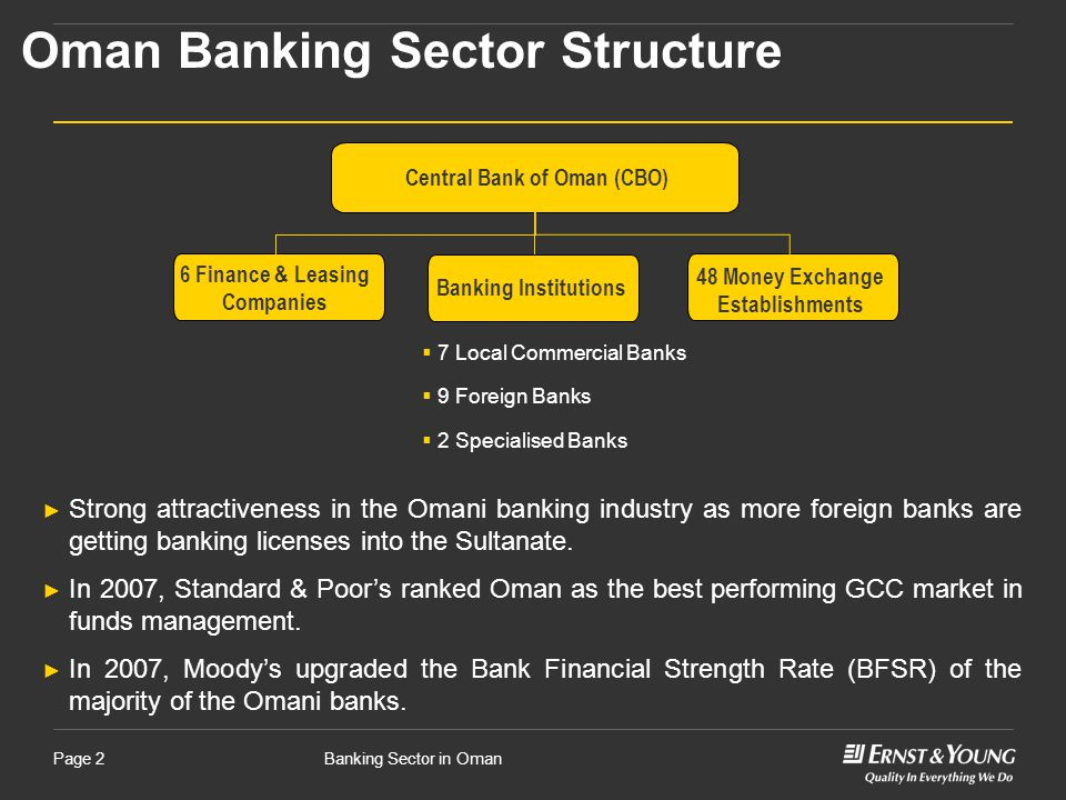 Banking Sector in OmanPage 2 Oman Banking Sector Structure Central Bank of Oman (CBO)  7 Local Commercial Banks  9 Foreign Banks  2 Specialised Banks ► Strong attractiveness in the Omani banking industry as more foreign banks are getting banking licenses into the Sultanate.