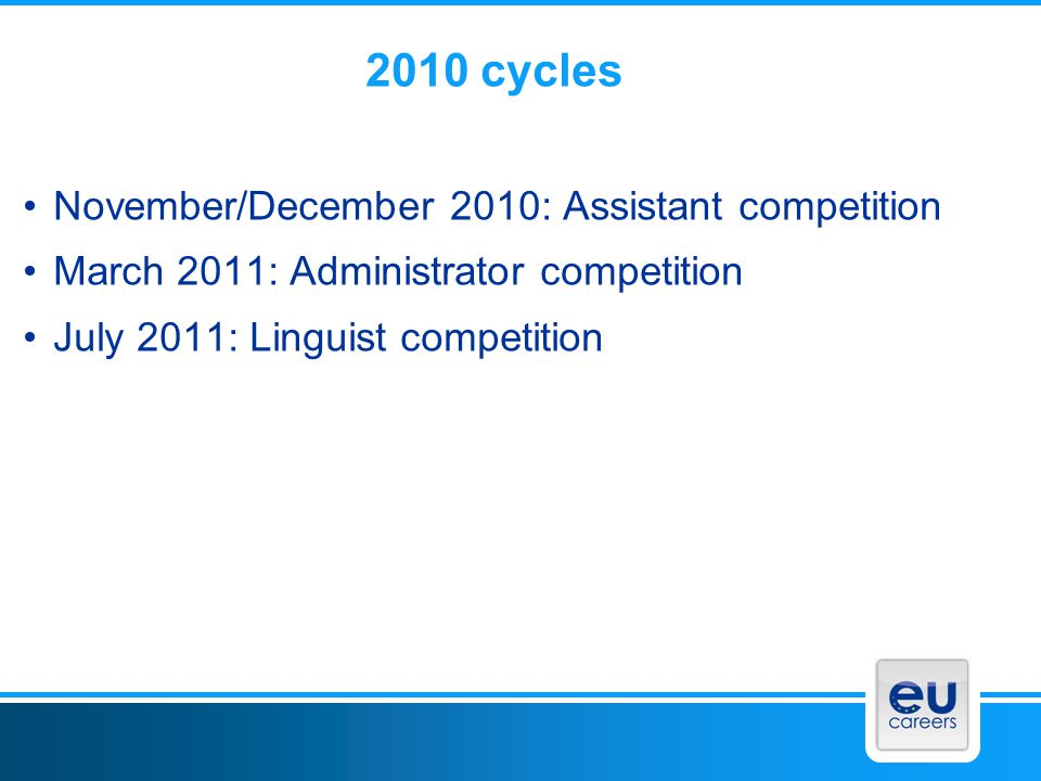 2010 cycles November/December 2010: Assistant competition March 2011: Administrator competition July 2011: Linguist competition