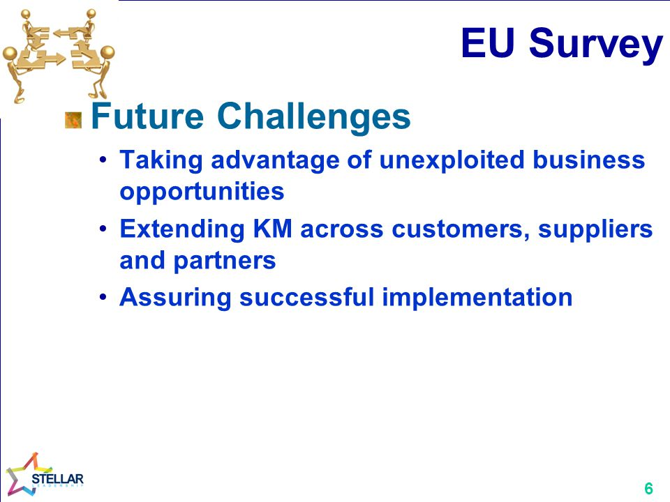 6 EU Survey Future Challenges Taking advantage of unexploited business opportunities Extending KM across customers, suppliers and partners Assuring su