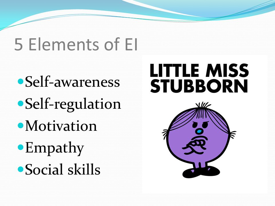 5 Elements of EI Self-awareness Self-regulation Motivation Empathy Social skills
