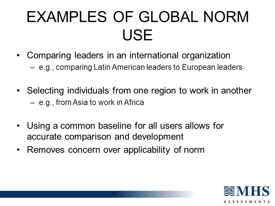 EXAMPLES OF GLOBAL NORM USE Comparing leaders in an international organization –e.g., comparing Latin American leaders to European leaders Selecting individuals from one region to work in another –e.g., from Asia to work in Africa Using a common baseline for all users allows for accurate comparison and development Removes concern over applicability of norm