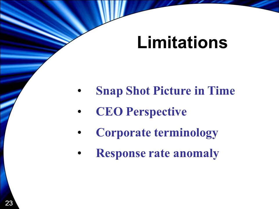 23 Limitations Snap Shot Picture in Time CEO Perspective Corporate terminology Response rate anomaly