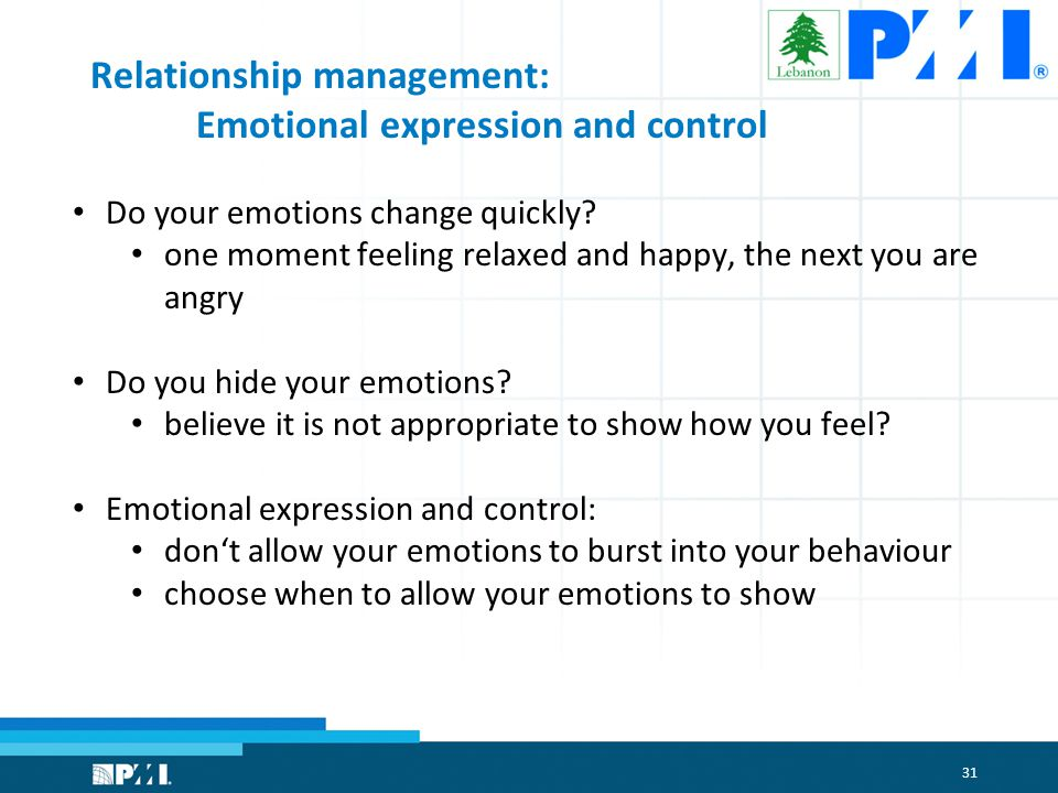 31 Relationship management: Emotional expression and control Do your emotions change quickly.