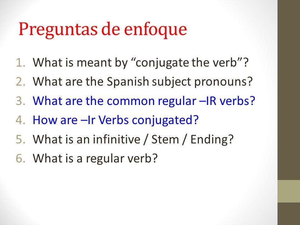 Preguntas de enfoque 1.What is meant by conjugate the verb .