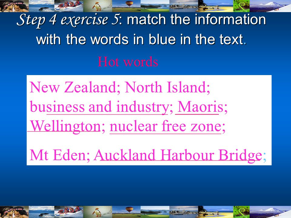 Step 4 exercise 5 : match the information with the words in blue in the text. Hot words New Zealand; North Island; business and industry; Maoris; Well