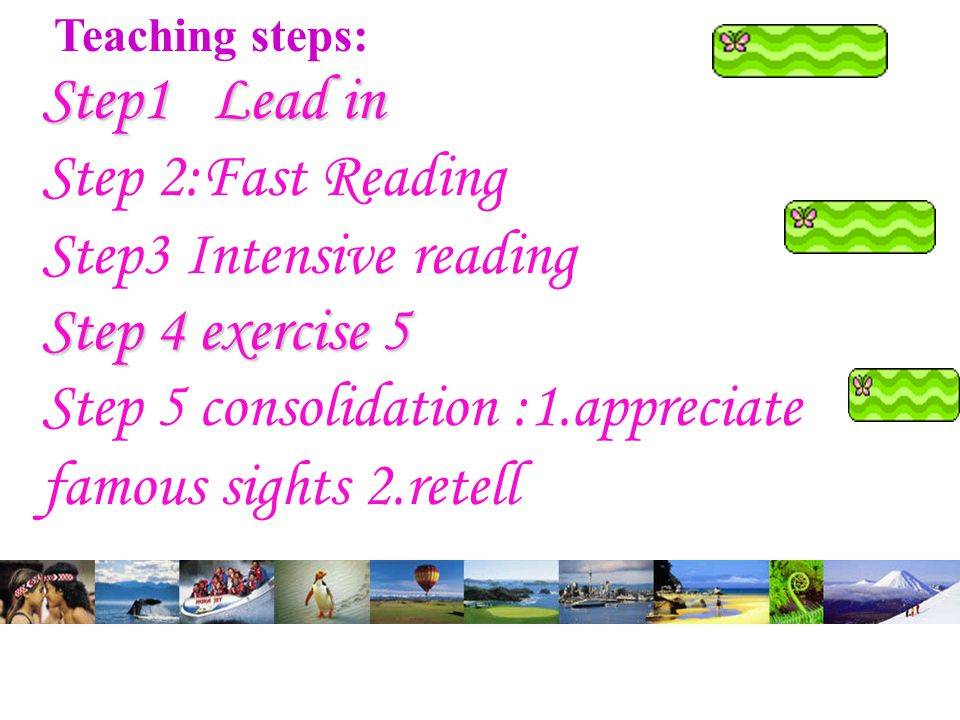 Teaching steps: Step1 Lead in Step 2:Fast Reading Step3 Intensive reading Step 4 exercise 5 Step 5 consolidation :1.appreciate famous sights 2.retell