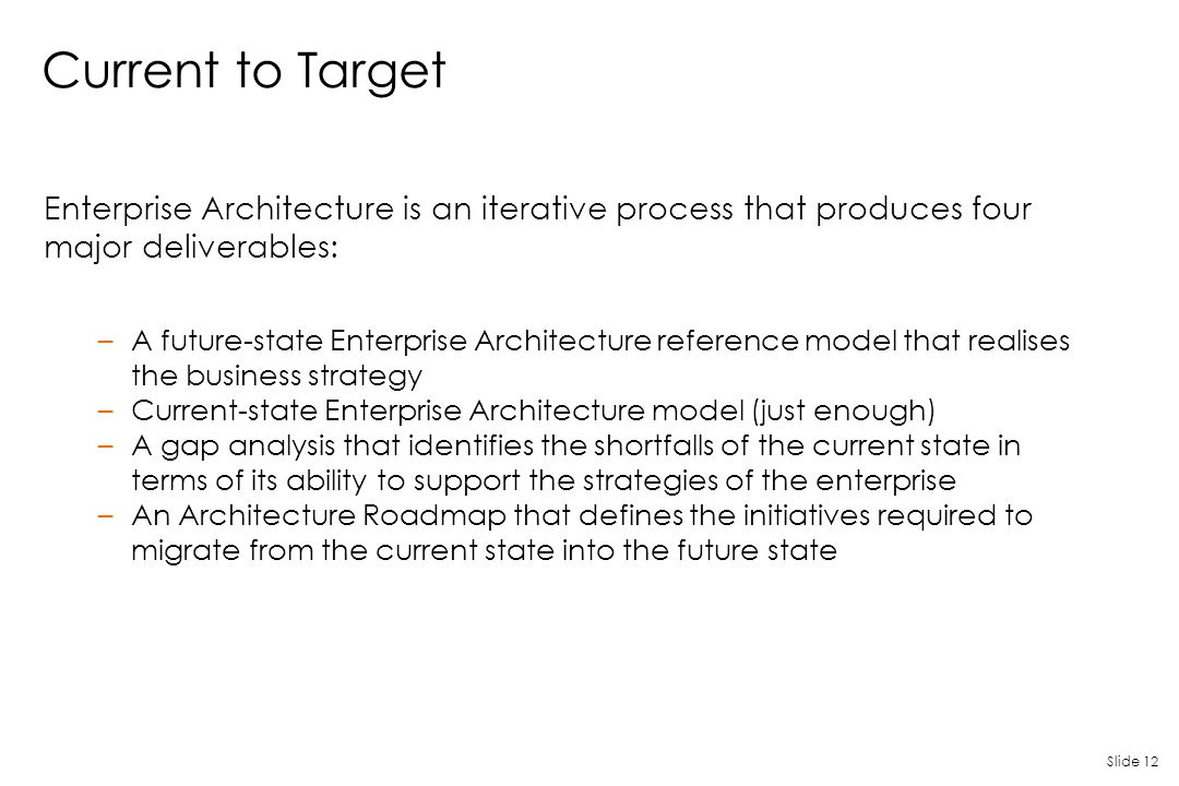 Slide 12 Current to Target Enterprise Architecture is an iterative process that produces four major deliverables: –A future-state Enterprise Architect