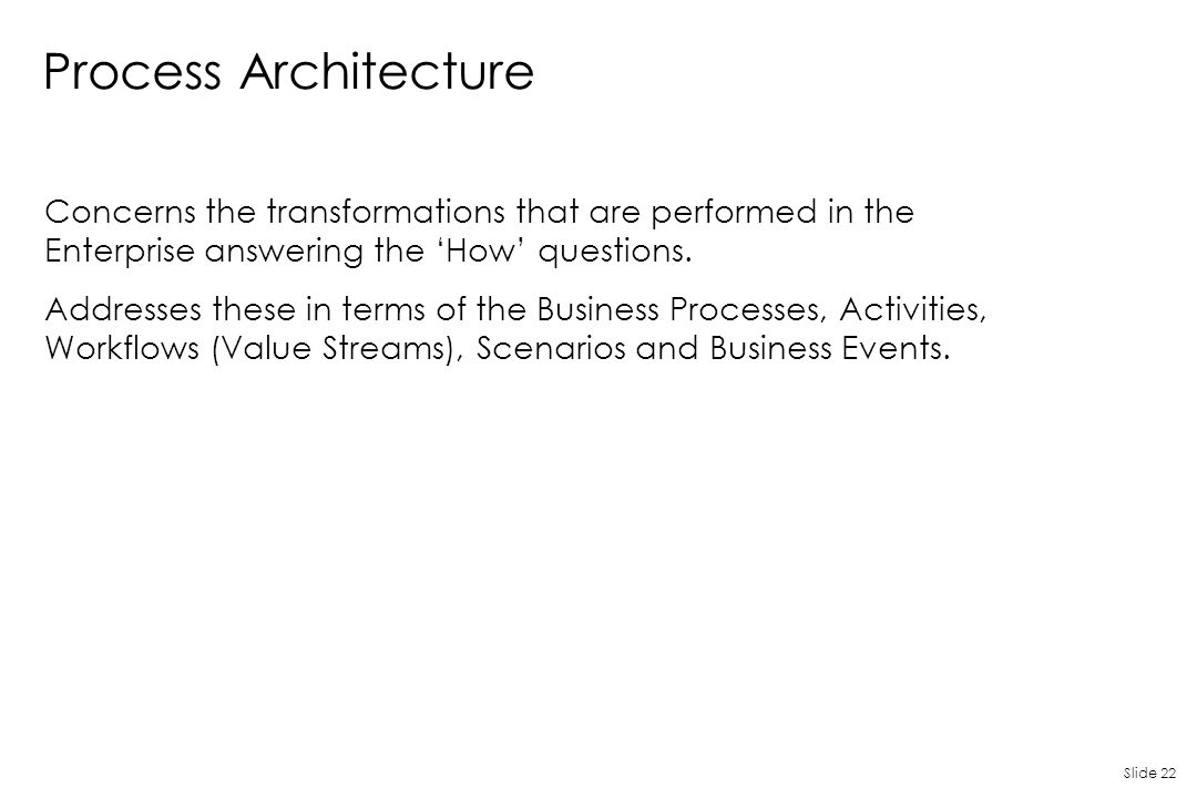 Slide 22 Process Architecture Concerns the transformations that are performed in the Enterprise answering the 'How' questions. Addresses these in term