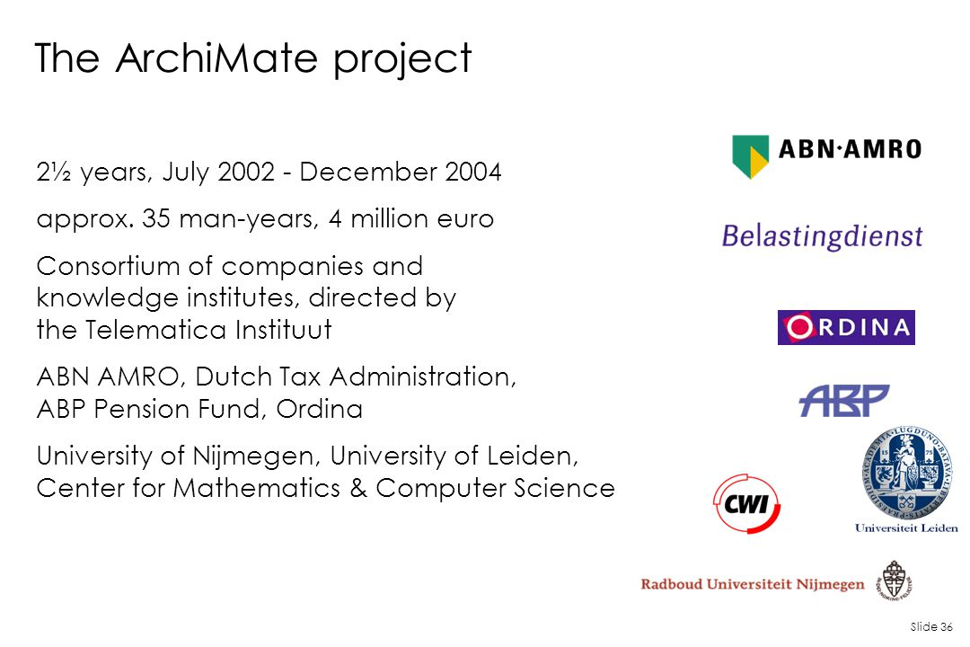 Slide 36 The ArchiMate project 2½ years, July 2002 - December 2004 approx. 35 man-years, 4 million euro Consortium of companies and knowledge institut