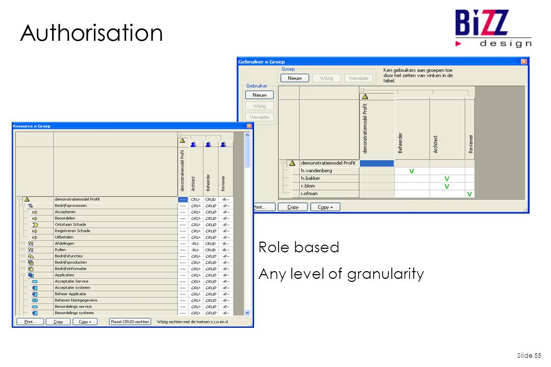Slide 55 Authorisation Role based Any level of granularity