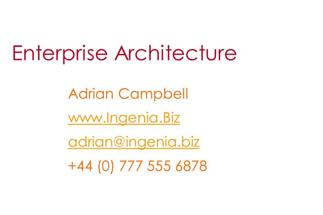 Enterprise Architecture Adrian Campbell www.Ingenia.Biz adrian@ingenia.biz +44 (0) 777 555 6878