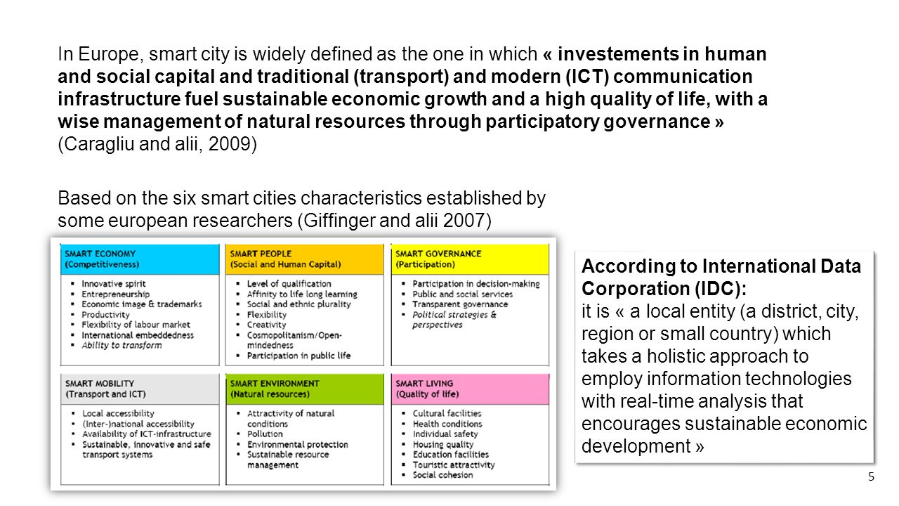 In Europe, smart city is widely defined as the one in which « investements in human and social capital and traditional (transport) and modern (ICT) communication infrastructure fuel sustainable economic growth and a high quality of life, with a wise management of natural resources through participatory governance » (Caragliu and alii, 2009) Based on the six smart cities characteristics established by some european researchers (Giffinger and alii 2007) According to International Data Corporation (IDC): it is « a local entity (a district, city, region or small country) which takes a holistic approach to employ information technologies with real-time analysis that encourages sustainable economic development » According to International Data Corporation (IDC): it is « a local entity (a district, city, region or small country) which takes a holistic approach to employ information technologies with real-time analysis that encourages sustainable economic development » 5
