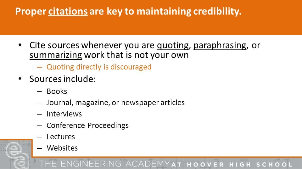 Proper citations are key to maintaining credibility.