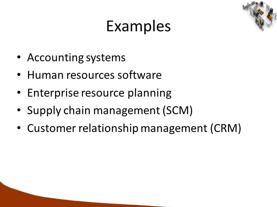 Examples Accounting systems Human resources software Enterprise resource planning Supply chain management (SCM) Customer relationship management (CRM)