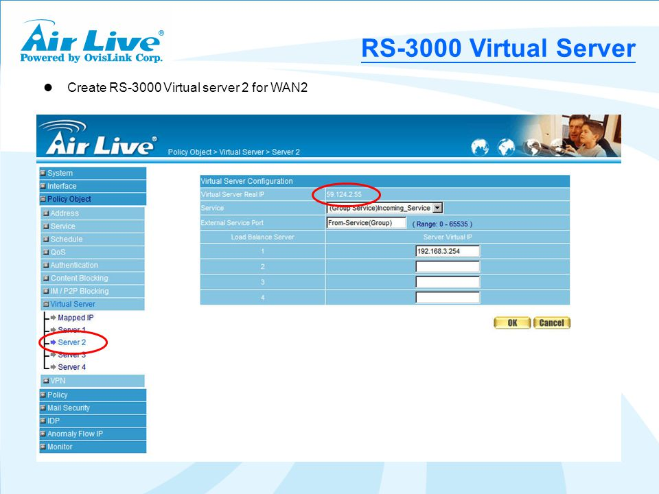 Create RS-3000 Virtual server 2 for WAN2 RS-3000 Virtual Server