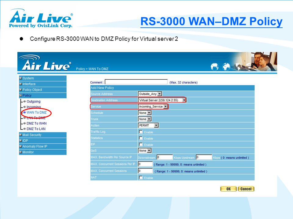Configure RS-3000 WAN to DMZ Policy for Virtual server 2 RS-3000 WAN–DMZ Policy